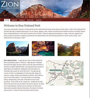 Zion National Park hiking website